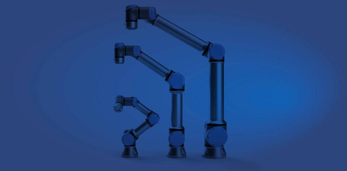 Drie verschillende cobots van Universal Robots
