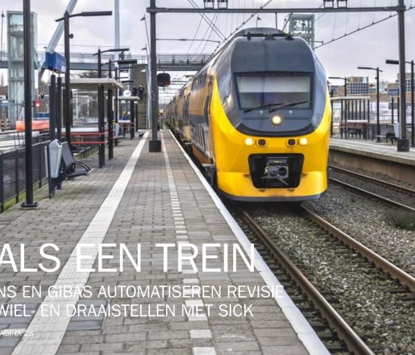Voorkant van Als een trein. NS en Gibas Automatiseren revisie wiel- en draaistellen met sick