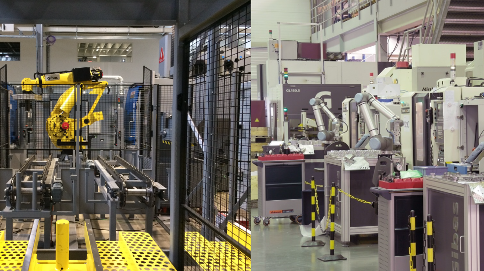 A fanuc robot and cobot of Universal Robots next to each other